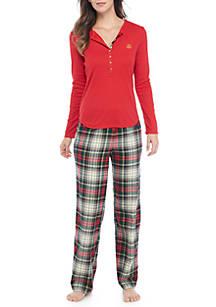 0d85c801e2ef8 Lauren Ralph Lauren. Lauren Ralph Lauren 2 Piece Knit Flannel Pajama Set