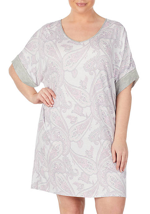 Plus Size Short Sleeve Knit Sleep Tunic