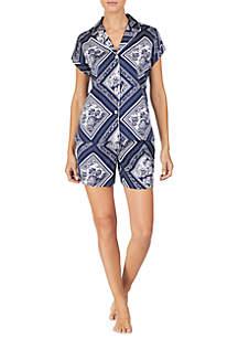 Lauren Ralph Lauren 2 Piece Woven Cotton Boxer Pajama Set