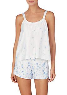 Lauren Ralph Lauren Sleeveless Ruched Neck Satin Cami Pajama Set