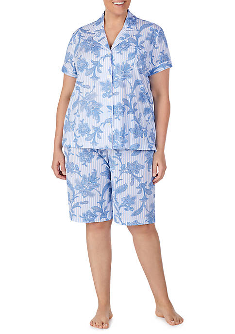 Plus Size Short Dolman Sleeve Pajama Set