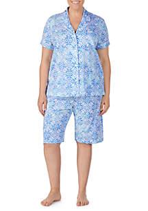 Lauren Ralph Lauren Plus Size Short Sleeve Knit Bermuda Short PJ Set