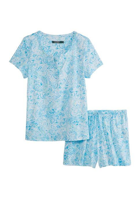 2 Piece Split Neck and Boxer Pajama Set
