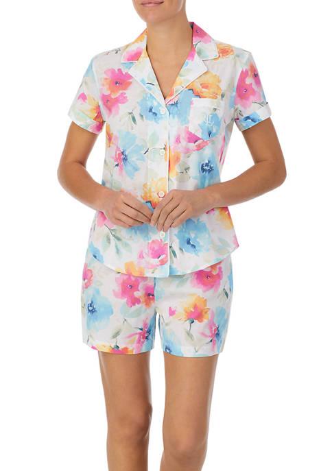 Lauren Ralph Lauren Notch Collar Boxer Pajama Set