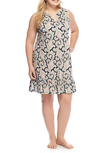 Plus Size Sleeveless Short Knit Sleep Gown
