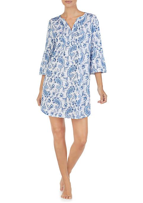 Cotton Flare Sleeve Short Sleep Gown