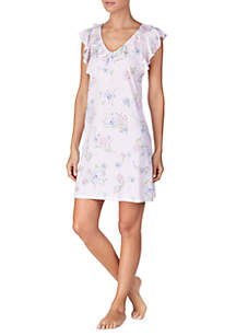 Ellen Tracy Short Sleeve Sleep Shirt With Border · Lauren Ralph Lauren  Sleeveless Ruffled Neck Sleep Gown 9857d1e8b