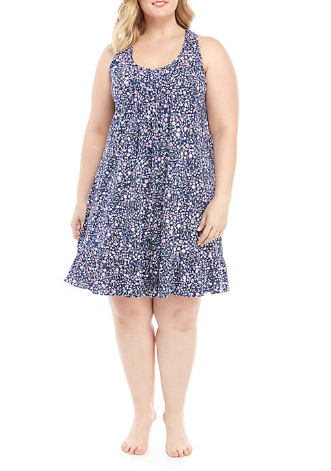 Plus Size Short Floral Night Gown