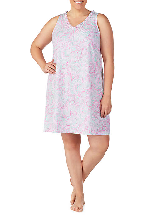 Plus Size Ruffle Neck Nightgown