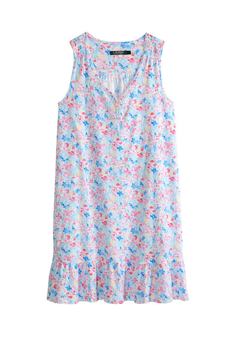 V-Neck Knit Short Sleep Gown