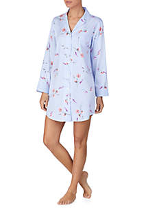 Long Sleeve Floral Button Down Sleep Gown