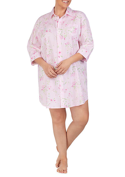 Plus Size 3/4 Sleeve Woven Sleep Shirt