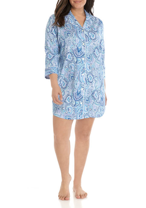 Plus Size Knit Notch Sleepshirt