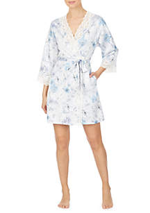 Lauren Ralph Lauren Satin Lace Wrap Robe