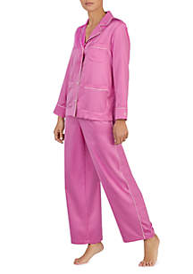 2-Piece Long Sleeve Satin Dot Pajama Set