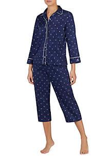 2-Piece 3/4 Sleeve Round Color Pajama Set