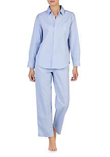 2-Piece Long Sleeve Stretch Woven Pajama Set
