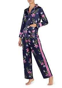 2-Piece Long Sleeve Satin Tux Stripe Pajama Set