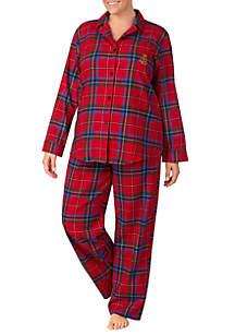 Plus Size 2-Piece Long Sleeve Brushed Twill Pajama Set