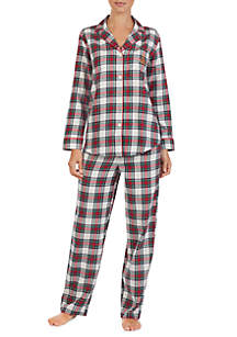 2-Piece Long Sleeve Brushed Twill Pajama Set