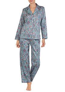 Two-Piece Long Sleeve Sateen Pajama Set