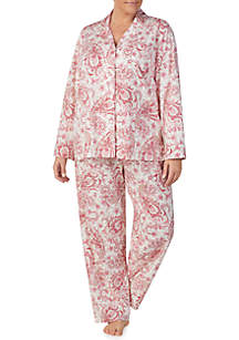 Plus Size 2-Piece Long Sleeve Classic Knit Pajama Set