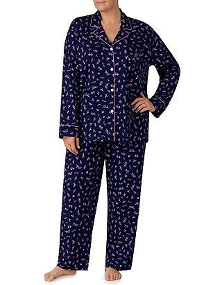 04b80447 Lauren Ralph Lauren Plus Size 2-Piece Notch Collar Pajama Set