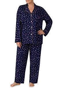 Plus Size 2-Piece Notch Collar Pajama Set