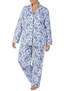 Plus Size 2-Piece Classic Knit Pajama Set