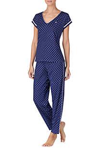 Lauren Ralph Lauren Short Sleeve Knit Pajama Set
