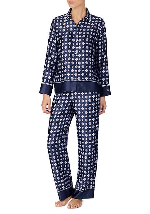 Lauren Ralph Lauren 2 Piece Satin Pajama Set
