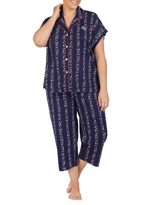 Plus Size 2 Piece Navy Knit Pajama Set