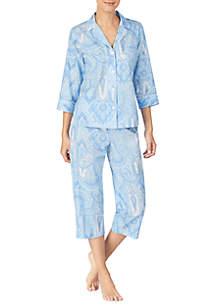 Lauren Ralph Lauren 2 Piece Woven Capris Pajama Set