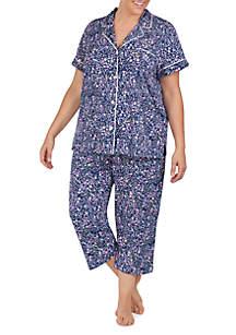 Lauren Ralph Lauren Plus Size 2-Piece Knit Capri Pajama Set