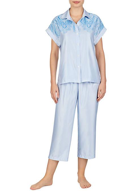 2-Piece Satin Dolman Capri Pajama Set