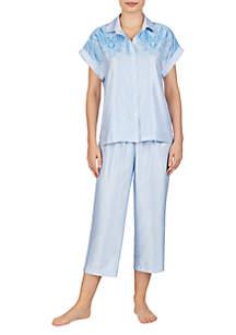 Lauren Ralph Lauren 2-Piece Satin Dolman Capri Pajama Set