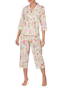 Lauren Ralph Lauren 3/4 Sleeve Notch Collar Capri Pajama Set