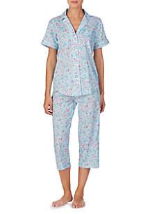 Lauren Ralph Lauren Short Sleeve Woven Capri PJ Set