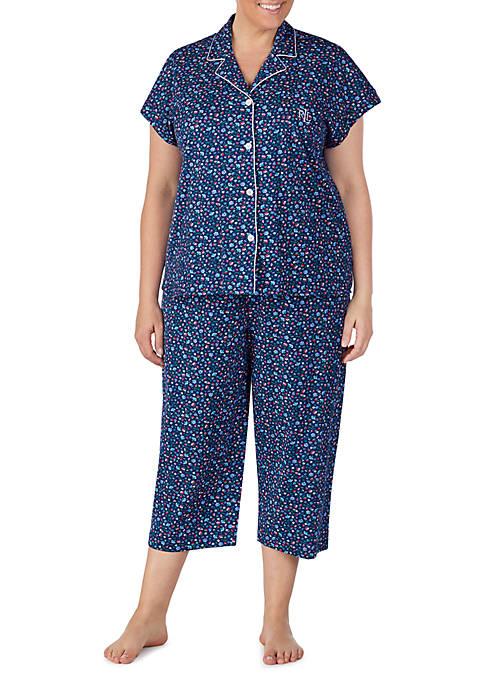 Plus Size Cotton Dolman Sleeve Capri Pajamas