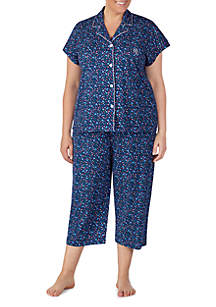 Lauren Ralph Lauren Plus Size Cotton Dolman Sleeve Capri Pajamas