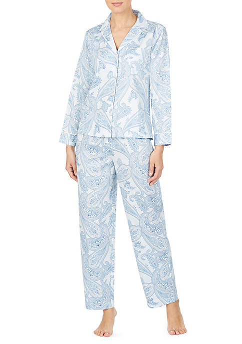 Lauren Ralph Lauren Long Sleeve Cotton Woven Pajama