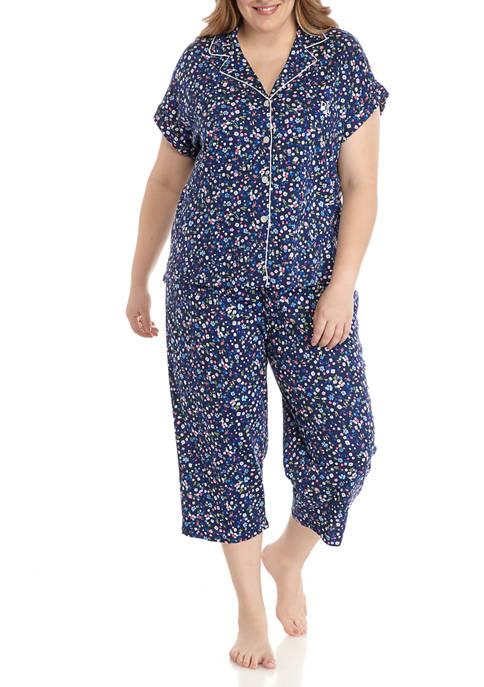 Plus Size Knit Capri Pajama Set