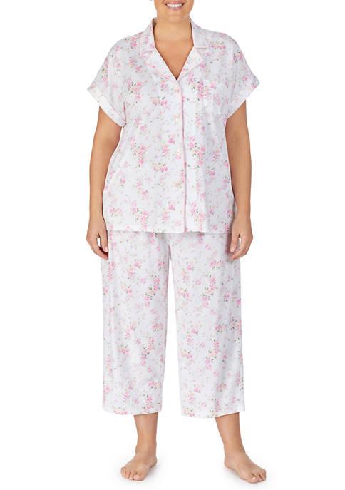 Plus Size 2 Piece Knit Capri Pajama Set