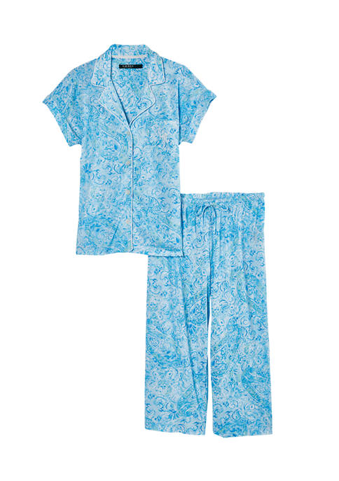 Lauren Ralph Lauren Notch Collar Knit Capri Pajama