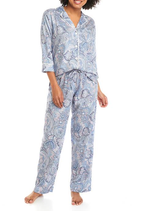 Lauren Ralph Lauren Woven Notch Printed Long Pajama