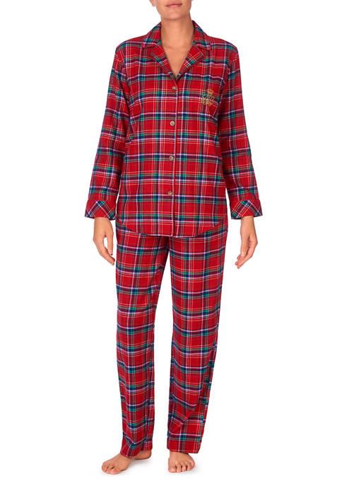 Lauren Ralph Lauren 2 Piece Woven Plaid Pajama