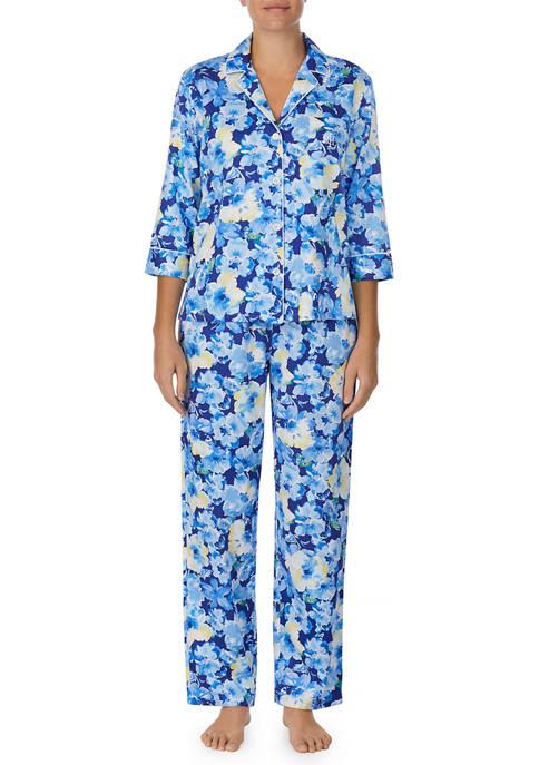 Lauren Ralph Lauren 3/4 Sleeve Notch Collar Pajama