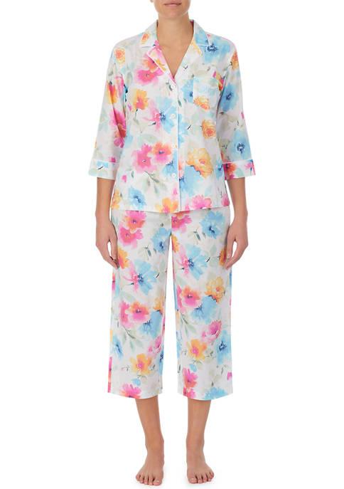 Lauren Ralph Lauren Notch Collar Capris Pajama Set