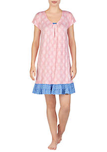 Ellen Tracy Short Sleeve Contrast Border Chemise