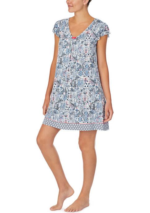 Ellen Tracy Short Sleeve Knit Short Sleep Gown
